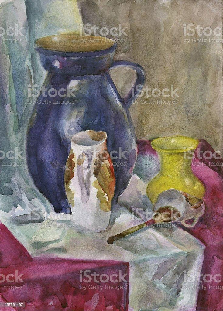 Still Life with jug, watercolor vector art illustration