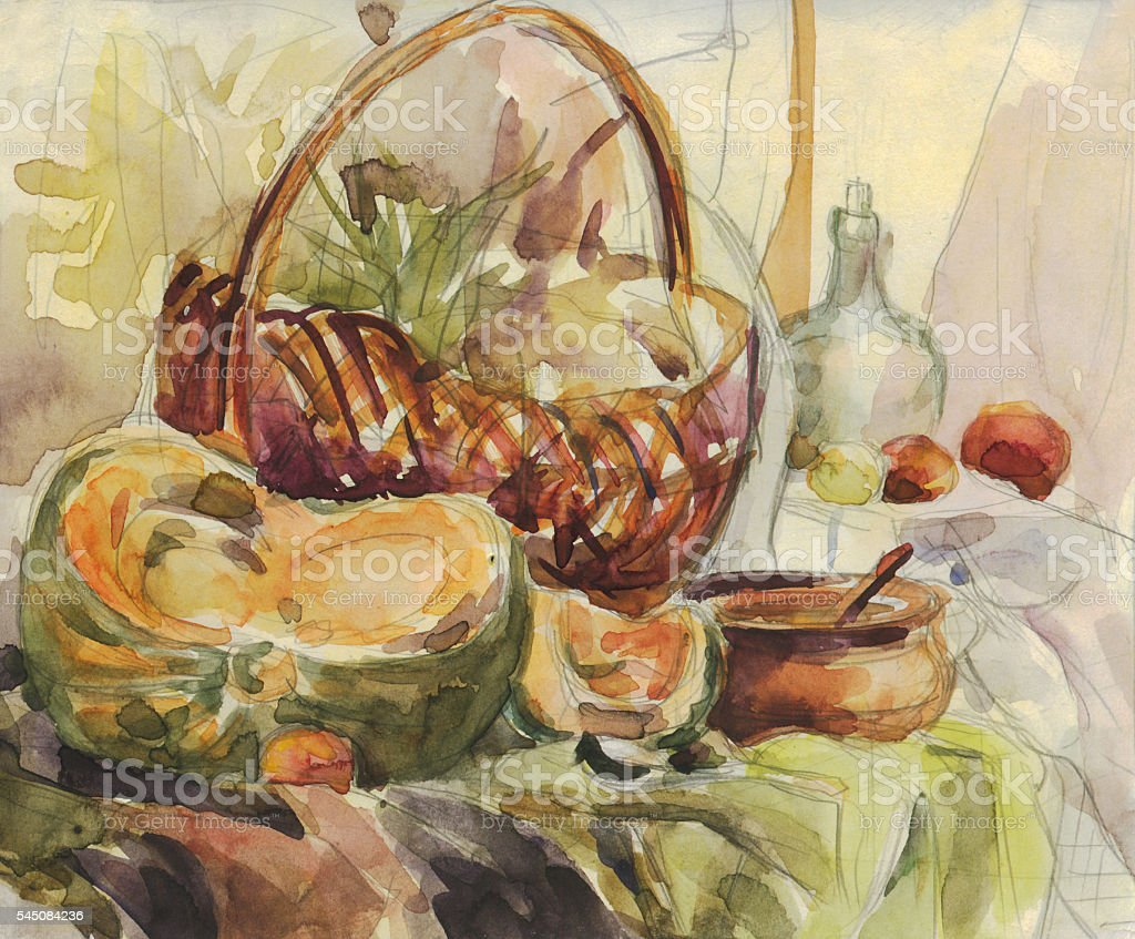 Still life with pumpkin. Watercolor painting vector art illustration
