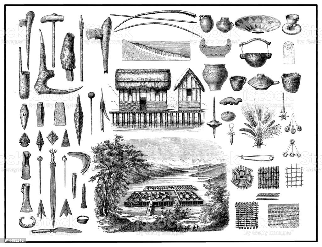 Stilt houses and objects from the Bronze Age. Landscape: Visualization of a pile dwellings in the Zurich Lake after architectural finds in the mid-19th century vector art illustration