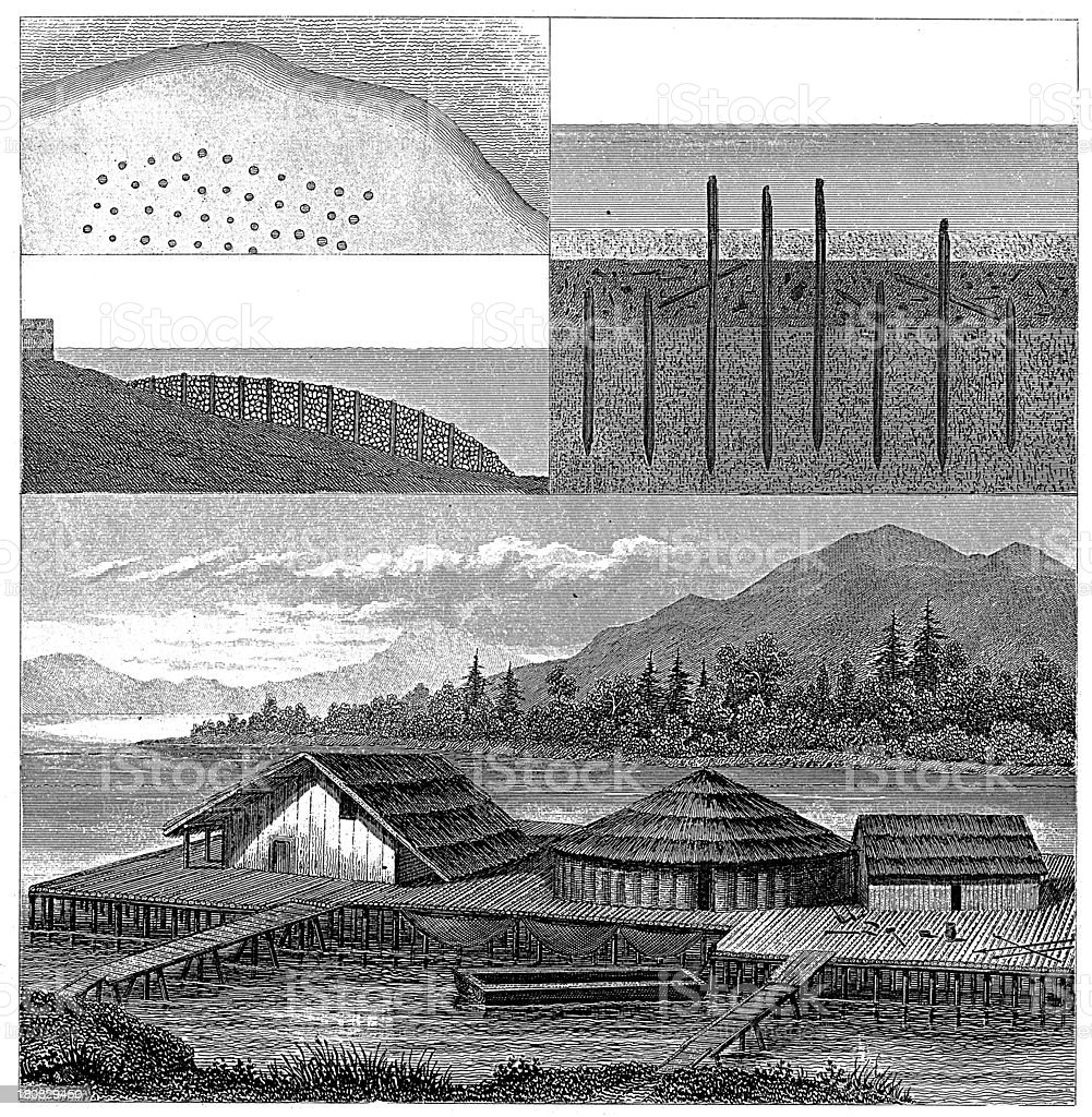 Stilt houses in Bodensee (antique wood engraving) royalty-free stock vector art