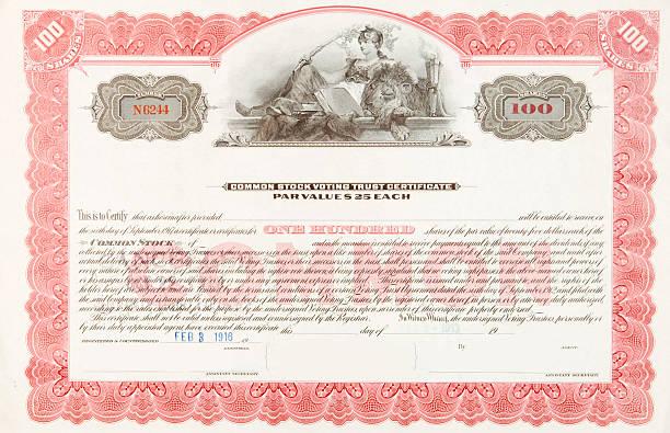 U.S. Stock Certificate 1916 Woman Reclining with Sleeping Lion vector art illustration