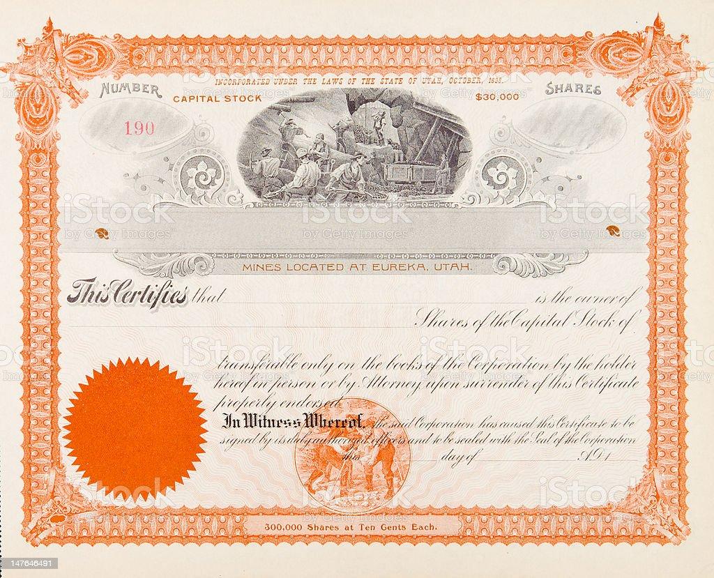 U.S. Stock Certificate Mining Company, Eureka, Utah, 1898 Miners Digging vector art illustration