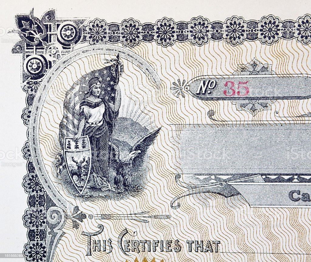 Stock Certificate Vignette, Woman American Flag Eagle Shield vector art illustration