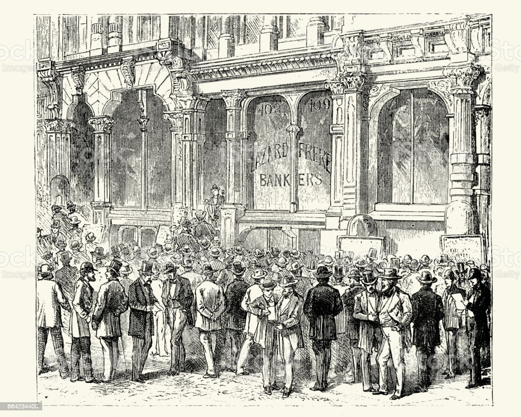 Stock gambling outside a bank in San Francisco, 19th Century vector art illustration