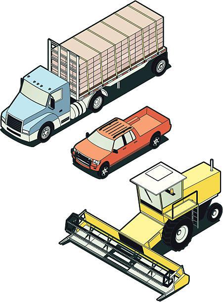 Stock Isometric Farm Vehicles vector art illustration