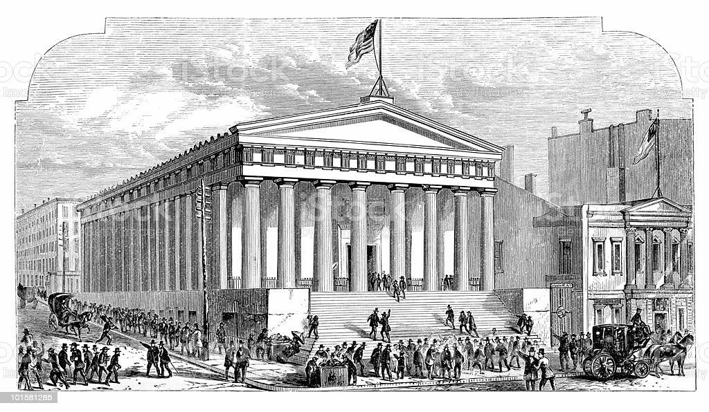 Stock Market Crash at the Subtreasury, New York vector art illustration