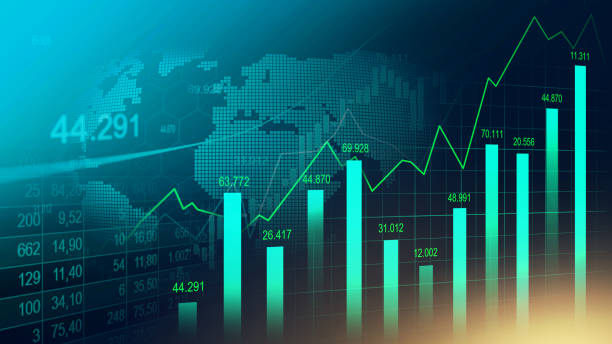 Stock market or forex trading graph Stock market or forex trading graph in graphic concept suitable for financial investment or Economic trends business idea and all art work design. Abstract finance background stock market stock illustrations