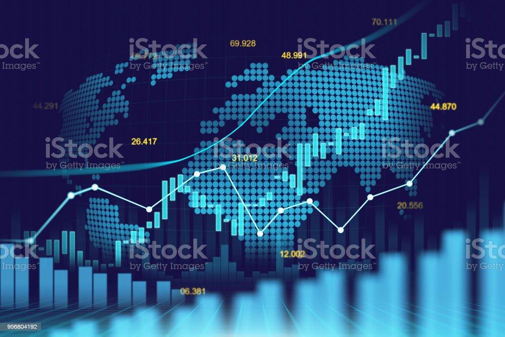Stock market or forex trading graph in futuristic concept vector art illustration