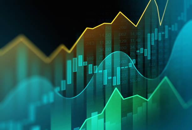 stockillustraties, clipart, cartoons en iconen met stock market of forex trading grafiek in grafisch concept - economie