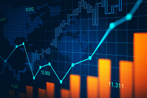 stock market or forex trading graph in graphic concept - dane giełdowe stock illustrations