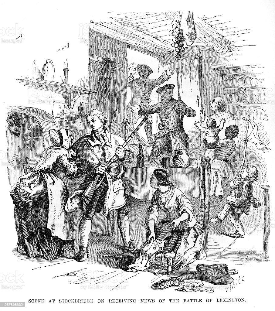 Stockbridge receiving news engraving 1859 vector art illustration