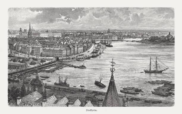 bildbanksillustrationer, clip art samt tecknat material och ikoner med stockholm, huvudstaden i sverige, träsnideri, publicerad 1897 - stockholm overview