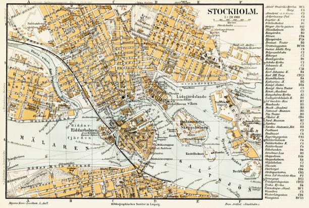 bildbanksillustrationer, clip art samt tecknat material och ikoner med stockholm sverige karta 1895 - stockholm
