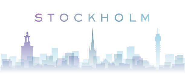 bildbanksillustrationer, clip art samt tecknat material och ikoner med stockholm transparenta lager gradient landmärken skyline - skyline stockholm