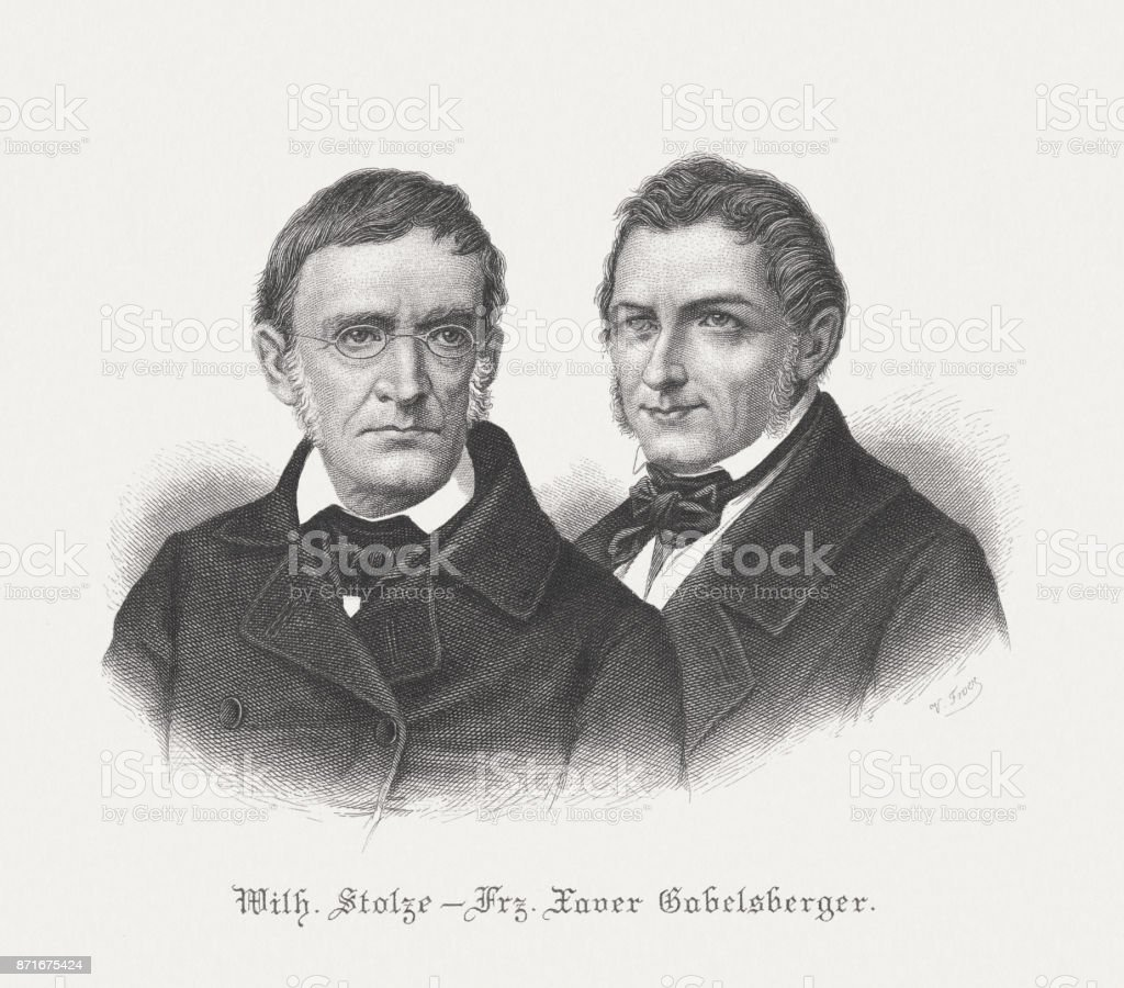 Stolze and Gabelsberger, the founders of the German stenography, c.1817 vector art illustration