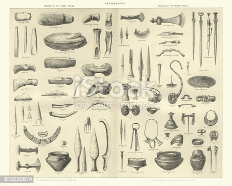 Vintage engraving of Stone and Bronze Age Artifacts