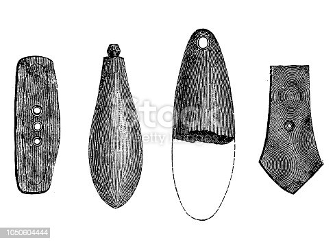 Illustration of  a Stone device, made by rubbing and grinding.