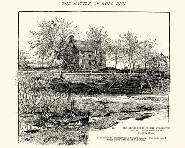 Stone House at Warrenton Turnpike, Virginia 1862 vector art illustration