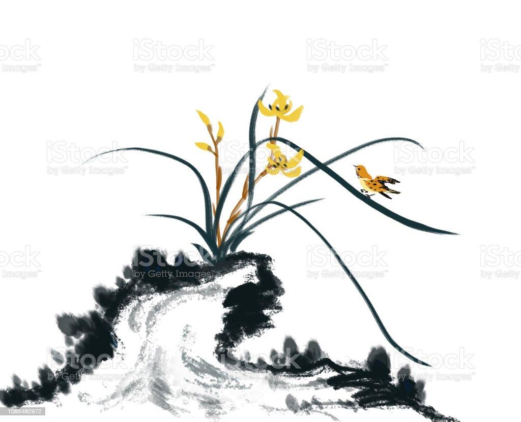 Tas Orkide Cicek Ve Kus Boyama Stok Vektor Sanati Boyanmis Resim
