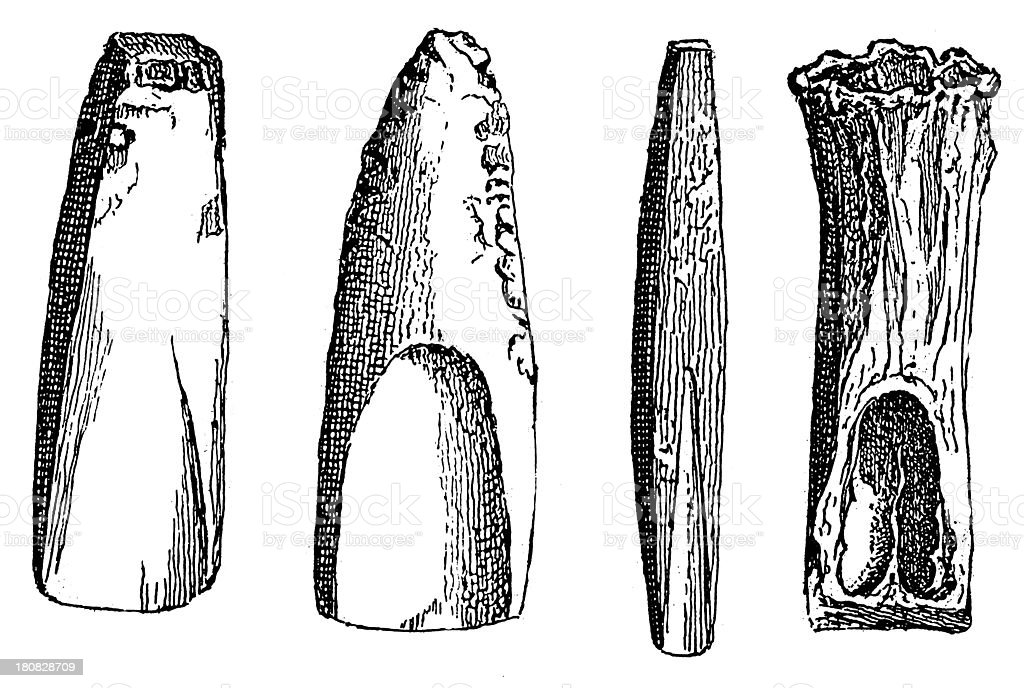 Stone tools (antique wood engraving) royalty-free stone tools stock vector art & more images of 19th century