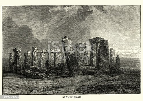Vintage engraving of Stonehenge, The Leisure Hour, 1873. Stonehenge is a prehistoric monument in Wiltshire, England. It consists of a ring of standing stones, with each standing stone around 4.1 metres.