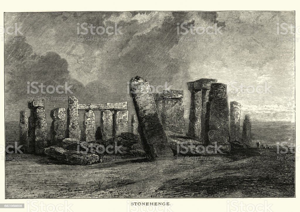 Stonehenge, 19th Century vector art illustration