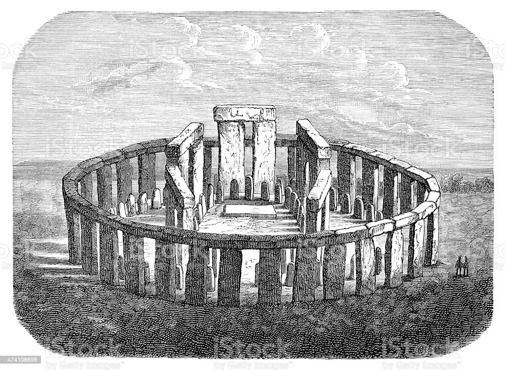 Stonehenge archeologic site near Salisbury vector art illustration