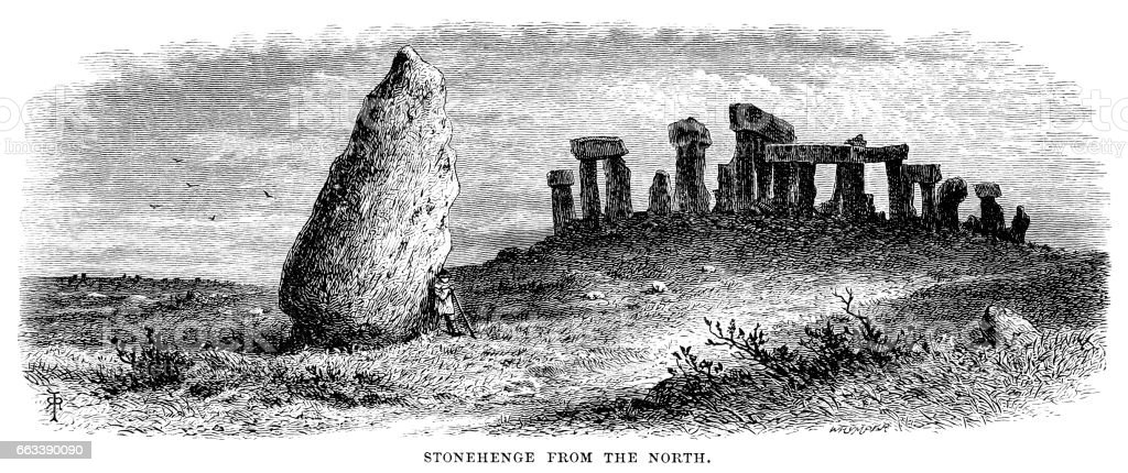 Stonehenge from the North (Victorian engraving) vector art illustration