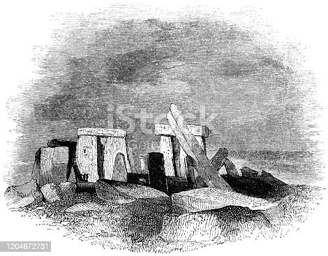 Stonehenge in Wiltshire, England. Vintage etching circa 19th century. Restoration would be done in the early 20th century, this is how it appeared before the stones were straightened.