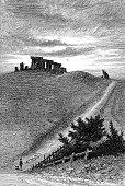 Stonehenge on Salisbury Plain in Wiltshire, England, Uk. Vintage etching circa 19th century.