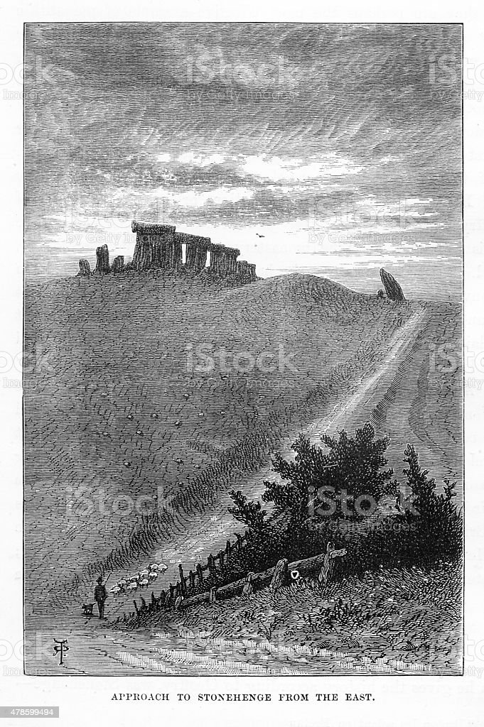 Stonehenge on the Salisbury Plain Near Amesbury Engraving vector art illustration