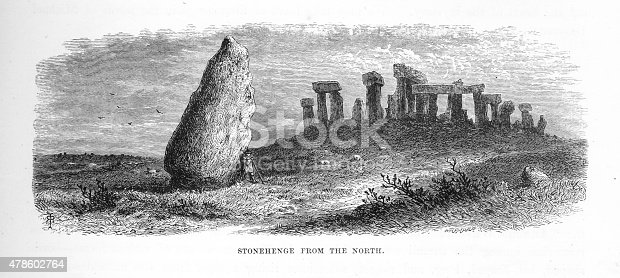 Very Rare, Beautifully Illustrated Antique Engraving of Stonehenge on the Salisbury Plain Near Amesbury Engraving from Our Own Country, Great Britain, Descriptive, Historical, Pictorial. Published in 1880. Copyright has expired on this artwork. Digitally restored.