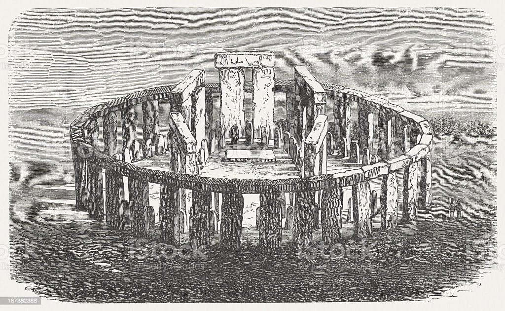 Stonehenge, World Heritage Site in England, wood engraving, published 1876 vector art illustration