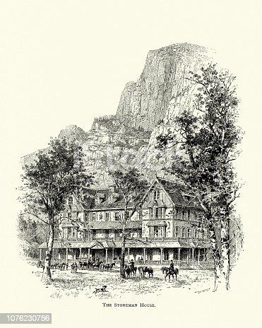 Vintage engraving of the Stoneman House hotel, Yosemite, 19th Century