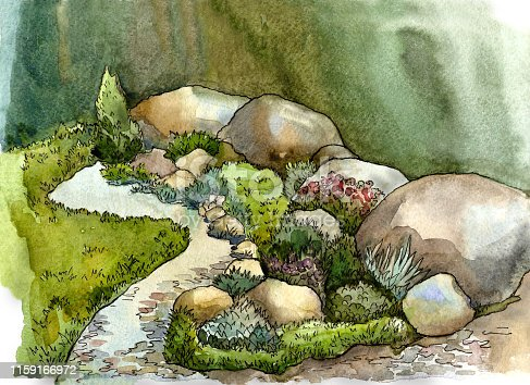 Stones, boulders, creek, grass and flowers in landscape design. Watercolor illustration