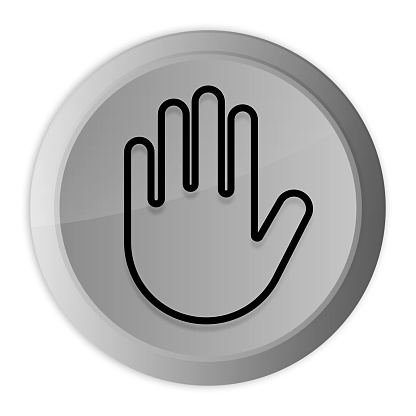 Stop hand icon metal silver round button metallic design circle isolated on white background black and white concept illustration