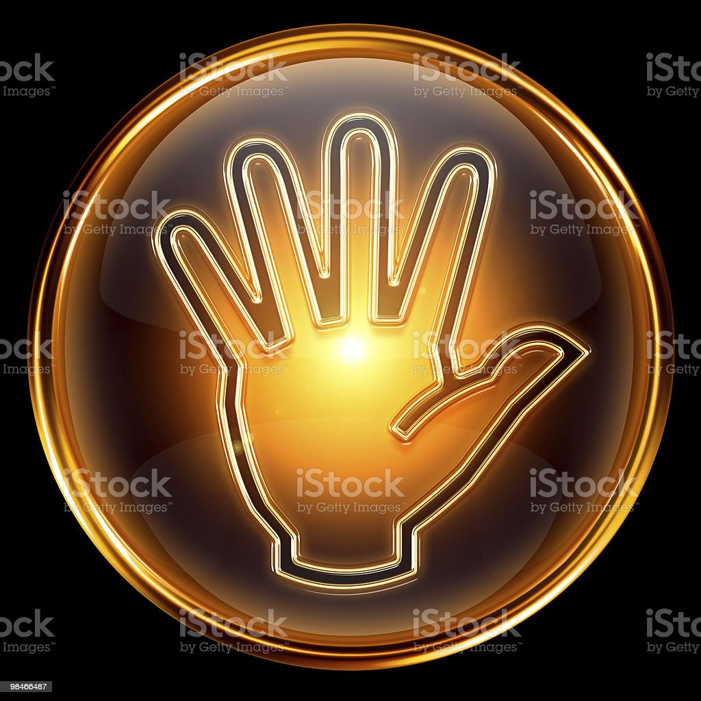 Stop icon golden, isolated on black background royalty-free stop icon golden isolated on black background stock vector art & more images of badge