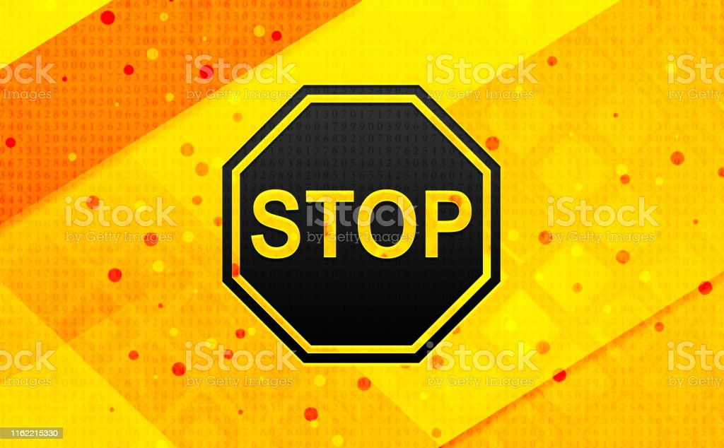 Stop sign icon isolated on abstract digital banner yellow background