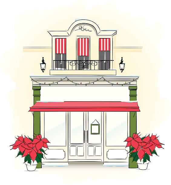 Store Front at Christmas time vector art illustration