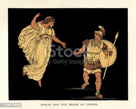 "Aeneas and the Shade of Creusa, a scene from ""Stories From Virgil"" by the Reverend Alfred J. Church, M.A., with illustrations from the designs of Bartolomeo Pinelli (1781 – 1835). Published by Seeley, Jackson & Halliday, London, in 1879. Creusa, the daughter of Priam and Hecuba, was the first wife of Aeneas, son of Aphrodite. Creusa dies in Troy and her 'shade', or ghost, visits Aeneas to tell him to care for their child, Ascanius."