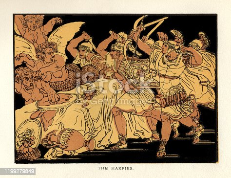 """The Harpies, a scene from """"Stories From Virgil"""" by the Reverend Alfred J. Church, M.A., with illustrations from the designs of BartolomeoPinelli(1781 – 1835). Published by Seeley, Jackson & Halliday, London, in 1879. In Greek and Roman mythology, a harpy is half-human, half-bird with the character and behaviour of a violent gale and a female face. Here they ruin yet another banquet being held by Aeneas and the Trojans."""