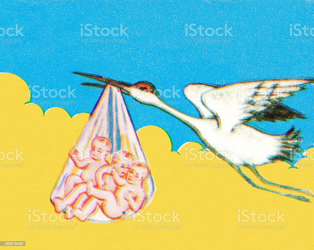 Stork Carrying Triplets royalty-free stock vector art