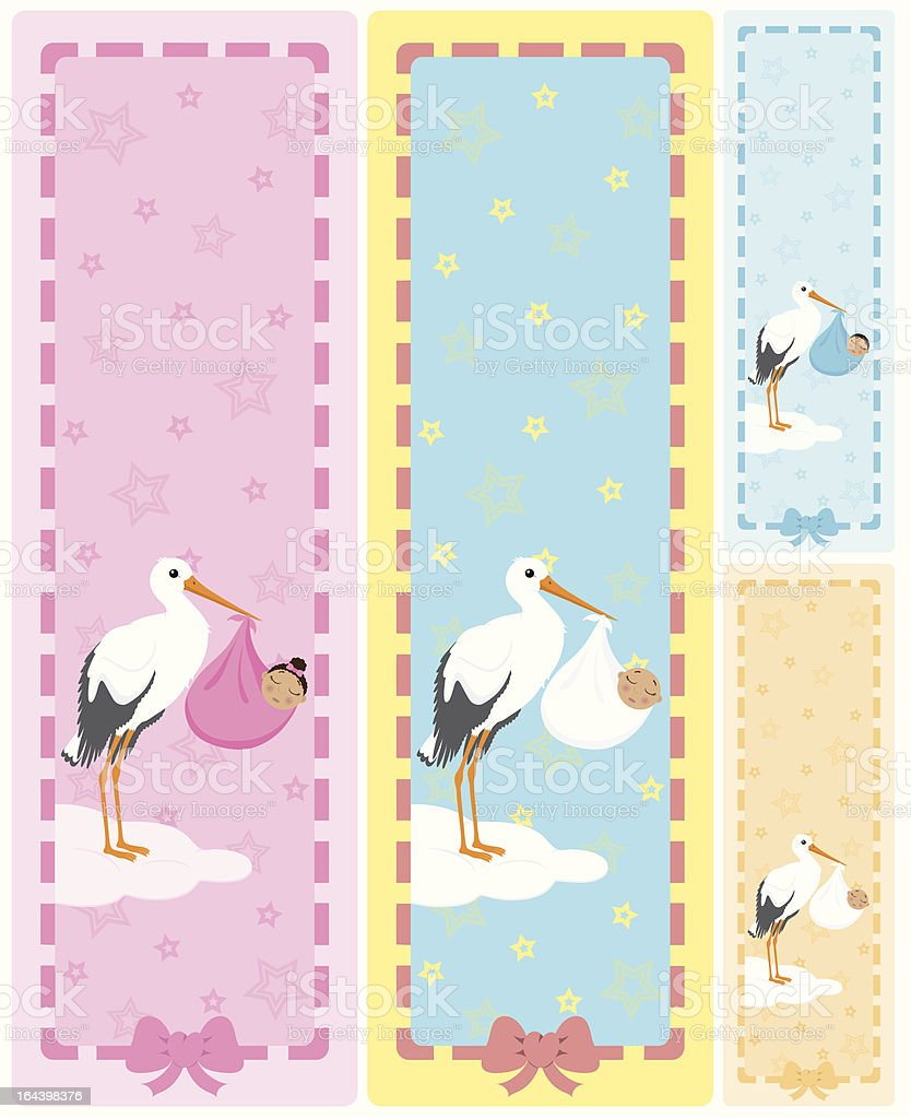 Stork holding a baby of african descent vertical banners. royalty-free stock vector art
