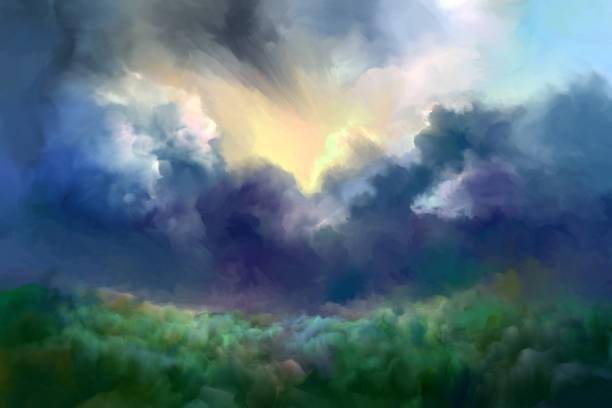 Storm clouds vector art illustration