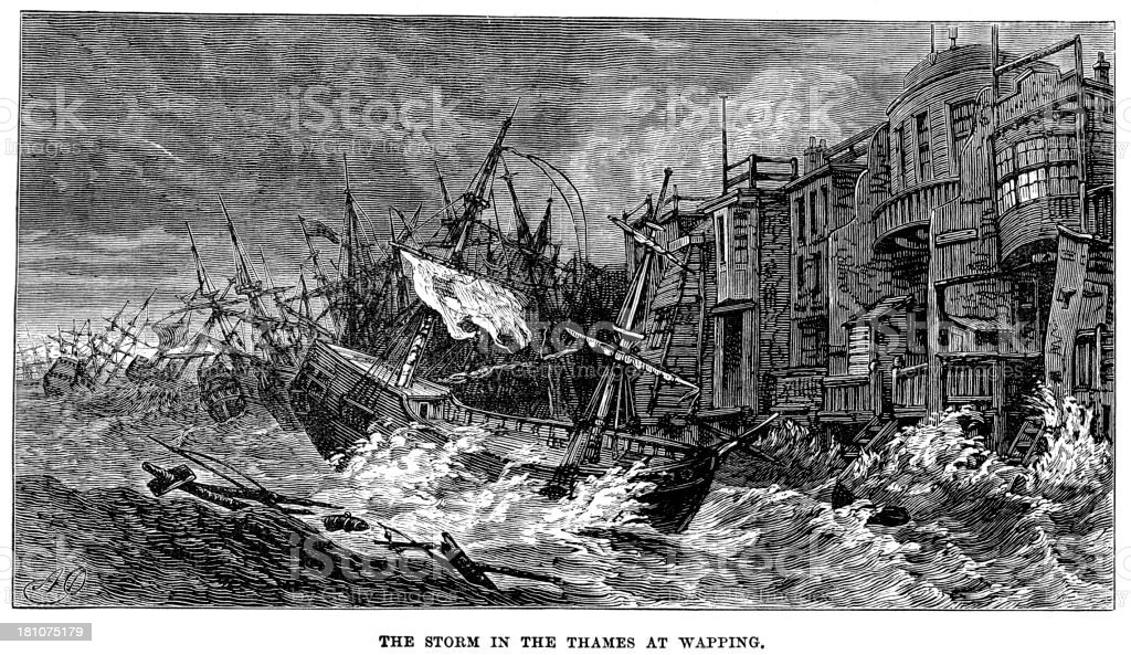Storm in the Thames royalty-free stock vector art