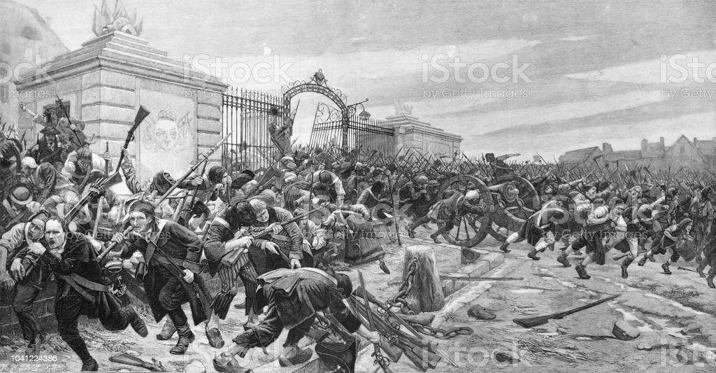 Tempête sur la Bastille le 14 juillet 1789 - Illustration vectorielle