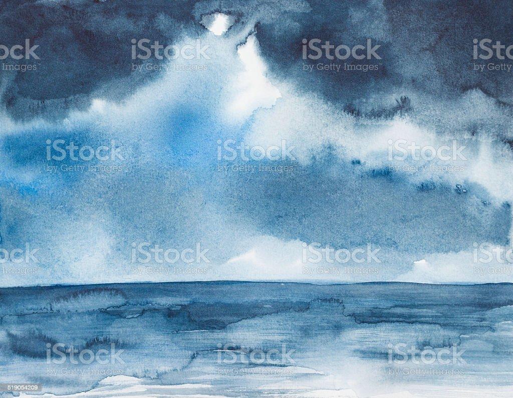 storm seascape watercolor painted vector art illustration