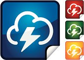 A sticker style icon from the weather series of a storm cloud.