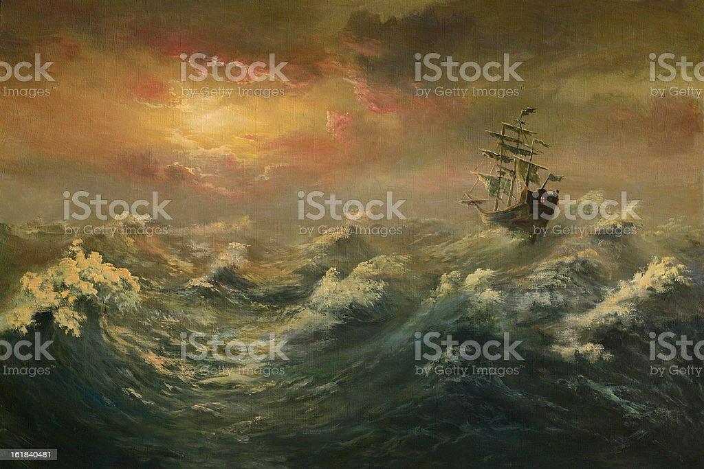 Storming ocean vector art illustration
