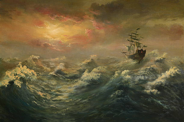 Storming ocean Painting. A canvas, oil. storm stock illustrations